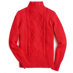 J. Crew Mockneck Center Cable-Knit Sweater